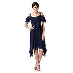 Debut - Farrah navy embellished cold shoulder dress