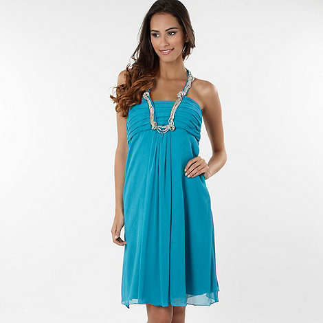 Debut - Turquoise Grecian necklace babydoll dress