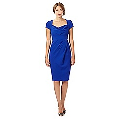 Debut - Madamoiselle Bright blue form fitting midi dress