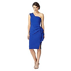 Debut - Denise bright blue one shoulder layered dress