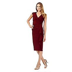 Debut - Denisa dark red wrap dress