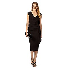 Debut - Black Denisa wrap midi dress