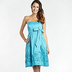 Debut - Turquoise appliqued Cornelli detail prom dress