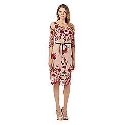 Debut - Dark red three quarter sleeve embellished dress