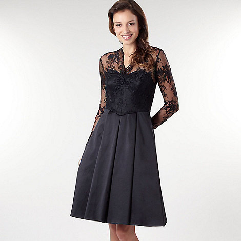 Debut - Black laced long sleeve prom dress