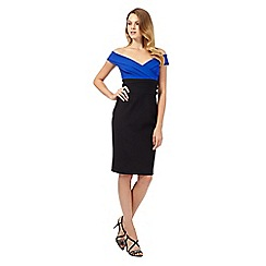 Debut - Amara bright blue off the shoulder wrap dress