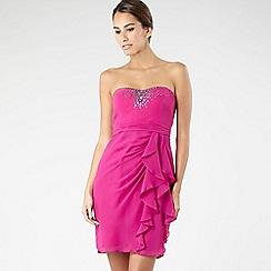 Debut - Pink diamante and ruffle babydoll dress
