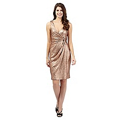 Debut - Gold foil-effect knot waist dress