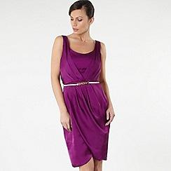 Debut - Purple draped cowl dress