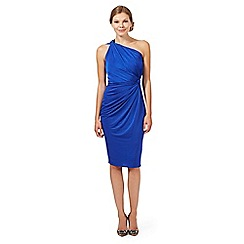 Debut - Bright blue one shoulder jersey midi dress