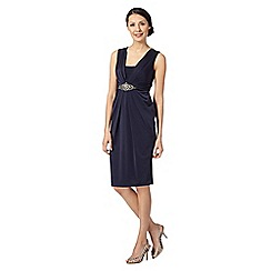 No. 1 Jenny Packham - Designer navy pleated embellished shift dress
