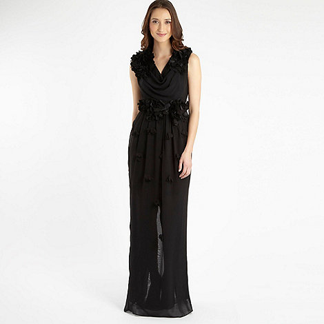 RI Roksanda Ilincic - Black appliqued flower maxi dress