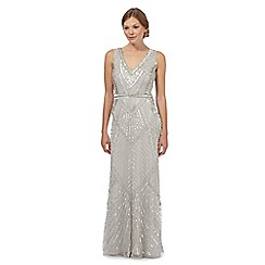 No. 1 Jenny Packham - Silver embellished sleeveless maxi evening dress