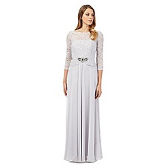 No. 1 Jenny Packham - Selena silver lace peplum maxi evening dress