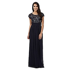 No. 1 Jenny Packham - Navy leaf stone maxi dress