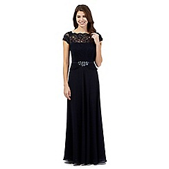 No. 1 Jenny Packham - Designer Selena navy floral lace sleeveless maxi dress