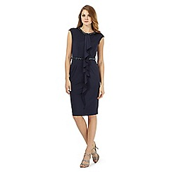 No. 1 Jenny Packham - Navy embellished front frilled dress