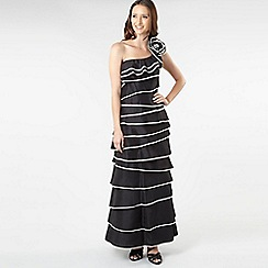 Pearce II Fionda - Black tiered ruffle one-shoulder dress
