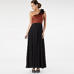 Principles by Ben de Lisi - Black appliqued corsage colour block dress