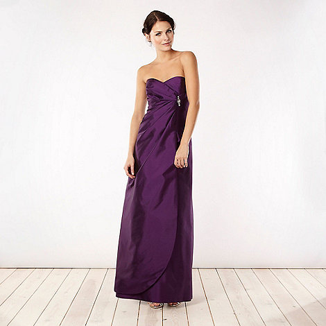 Debut - Purple brooch detail bandeau maxi ball gown
