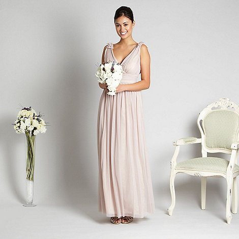 Debut - Light pink ruched mesh maxi dress