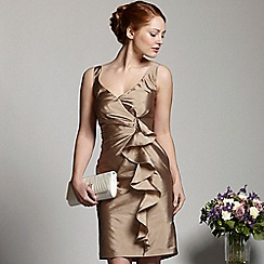Debut - Light gold draped shift dress