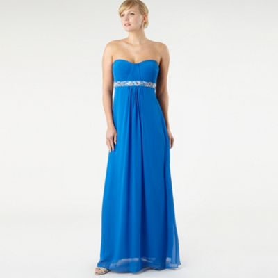 Bright Blue Pleated Bust Maxi Dress
