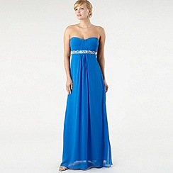 Debut - Bright blue pleated bust maxi dress