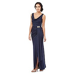 Debut - Navy jersey cowl maxi dress
