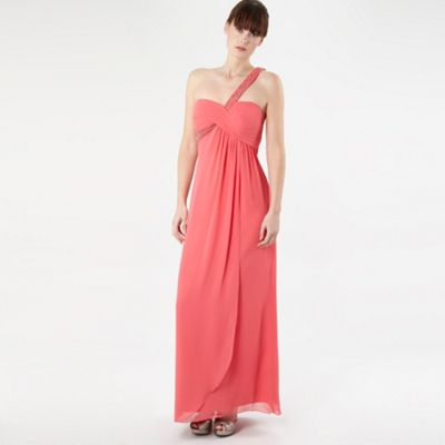Pink Beaded One Shoulder Maxi Dress