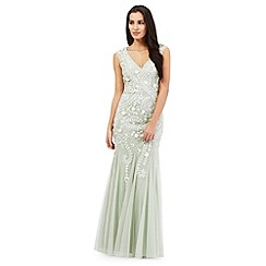 Debut - Light green embellished maxi dress