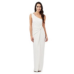 Debut - Ivory Kiera glitter one shoulder maxi dress