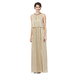 Debut - Gold bead embellished neck two-tier maxi dress
