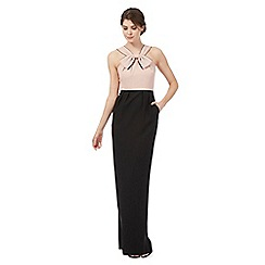 Debut - Pink and black bow applique neck maxi dress