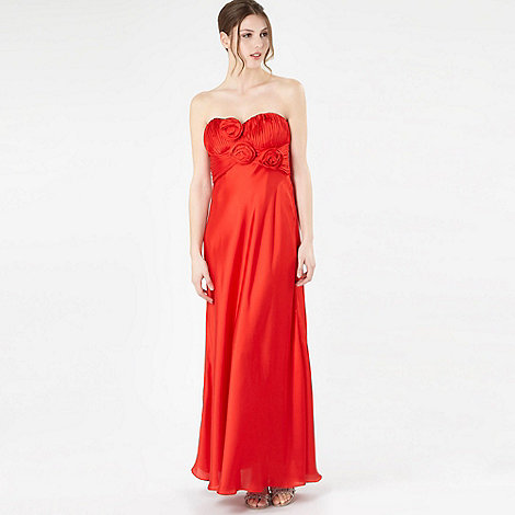 Debut - Red rose corsage bandeau maxi dress