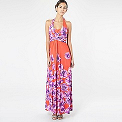 Debut - Orange floral halter neck maxi dress