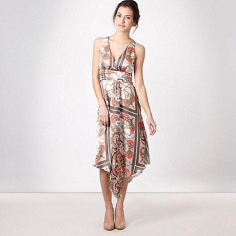 Debut - Cream scarf print evening summer dress