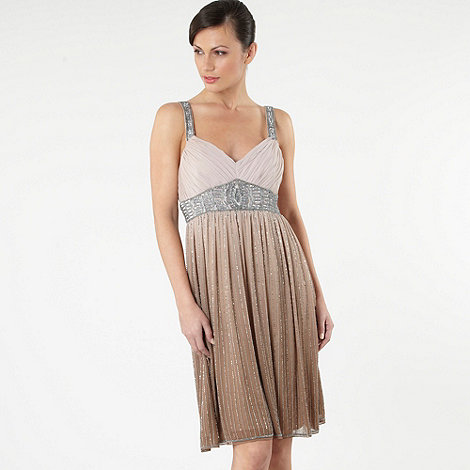 Debut - Beige beaded ombre babydoll dress