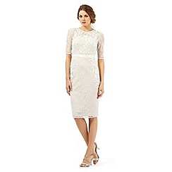 Debut - Cream floral lace embellished dress