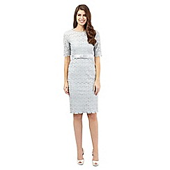 Debut - Silver grey beaded Pearla Lace dress
