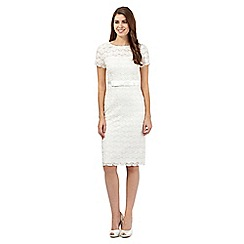 Debut - Ivory beaded Pearla Lace midi dress