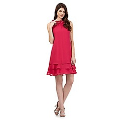 Debut - Bright pink flower applique neckline layered hem dress