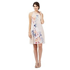 Debut - Light pink floral print bead embellished neckline dress