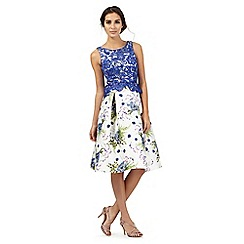 Debut - Multi-coloured floral print lace top prom dress