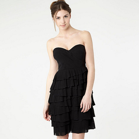 Debut - Black tiered pleat bandeau dress