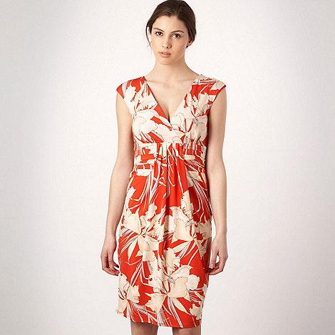 Debut - Dark orange floral print jersey dress