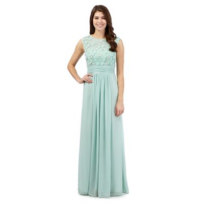 No. 1 Jenny Packham Aqua floral maxi dress