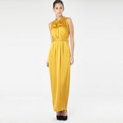 Mustard Tie Neck Maxi Dress