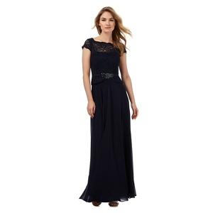 Plus Size No. 1 Jenny Packham Navy (Blue) Floral Lace Maxi Dress