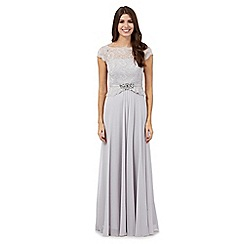 No. 1 Jenny Packham - Silver jewel embellished maxi dress